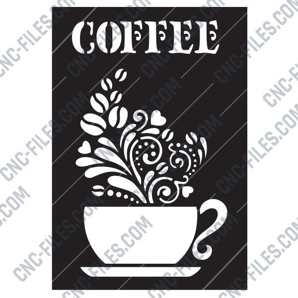 Coffee Design File Eps Ai Svg Dxf Cdr Cnc Files Free Dxf File Downlads Cuttable Designs Cnc Cut Ready Diy Home Decor