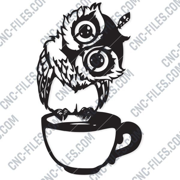 Owl on the coffee cup design files - EPS AI SVG DXF CDR