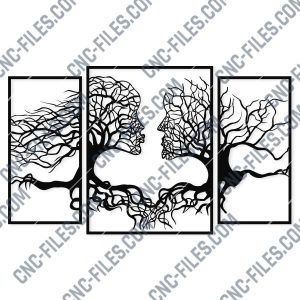 Wall art Vectors - Abstract Kiss Tree - SVG DXF EPS AI CDR