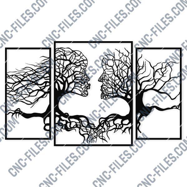 Wall art Vectors - Abstract Kiss Tree - SVG DXF EPS AI CDR