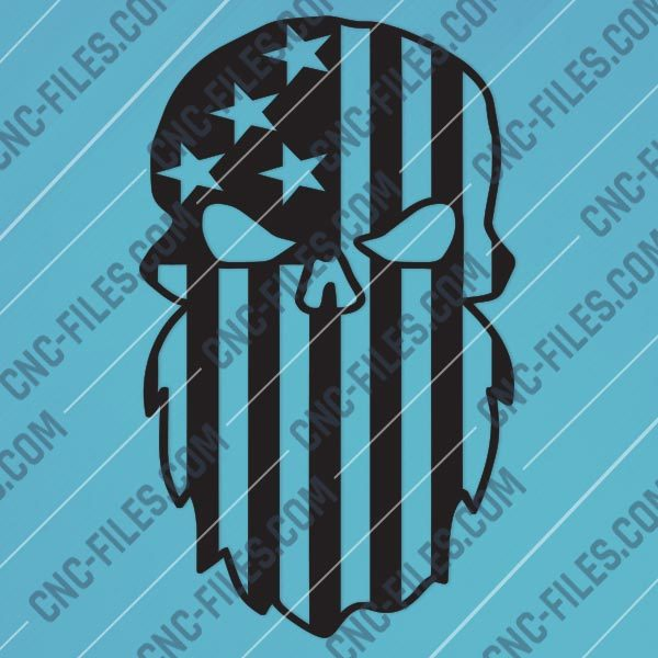 Beard Punisher USA Flag Skull Design files - DXF SVG EPS AI CDR