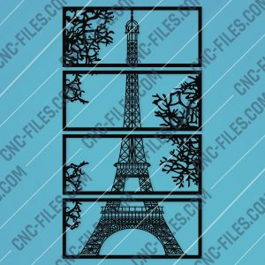 Wall art Vector - Design Pattern Eiffel Tower - SVG DXF EPS AI CDR