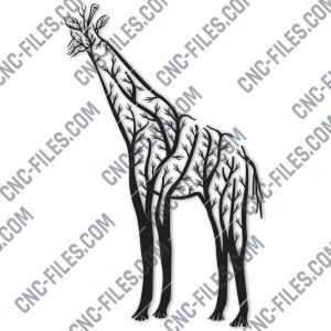 Giraffe Tree Art Vector Design file - EPS AI SVG DXF CDR