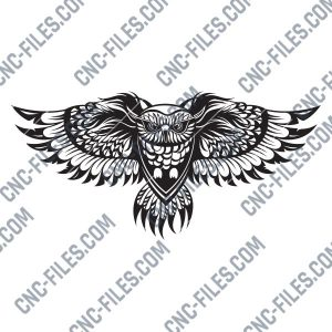 OWL Wall Art Vector Design files - DXF SVG EPS AI CDR
