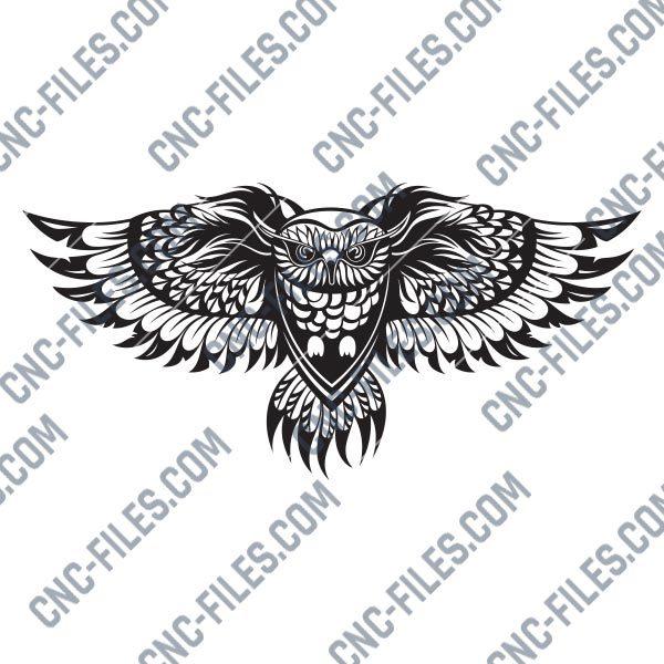 OWL Wall Art Vector Design files - DXF SVG EPS AI CDR