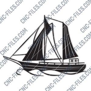 Sailboat Modern Steel Wall Art Vector Design file - DXF SVG EPS AI CDR