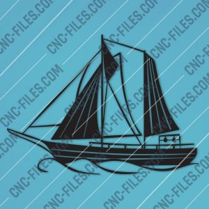 Sailboat Modern Steel Wall Art Vector Design file - DXF SVG EPS AI CDR