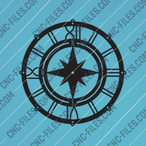 Compass Wall Clock Sailor Design file - DXF SVG EPS AI CDR