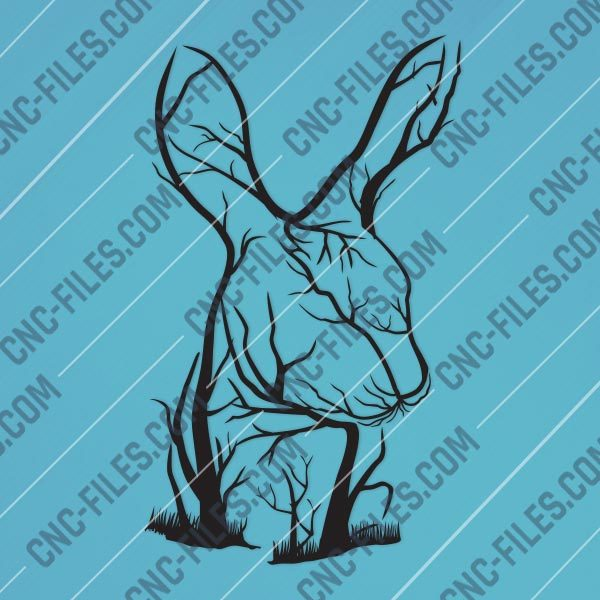 Rabbit Tree Art Vector Design file - DXF SVG EPS AI CDR