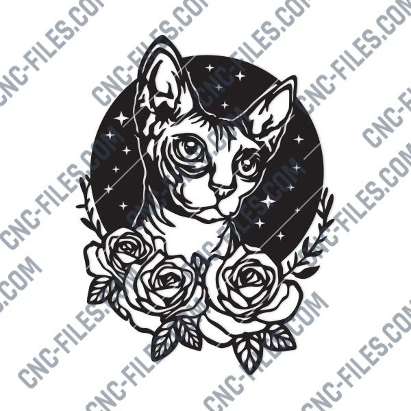 Cat with flowers and stars Design file - DXF SVG EPS AI CDR