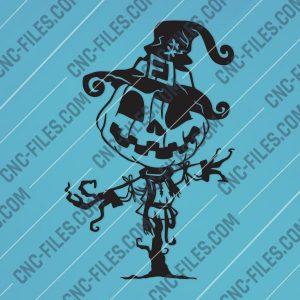 Pumpkin Scarecrow Art Vector Design file - DXF SVG EPS AI CDR