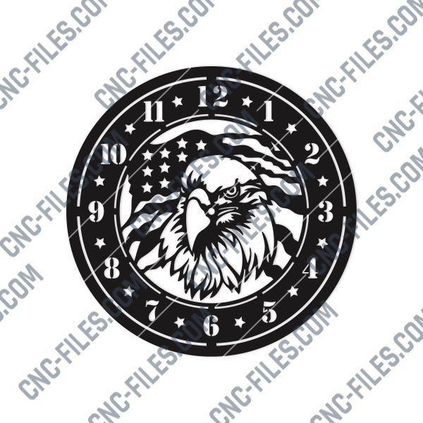 American Eagle Wall Clock Design files - DXF SVG EPS AI CDR