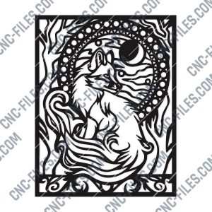 Fox and trees with farewell moon within the nature art Vector Design files - DXF SVG EPS AI CDR