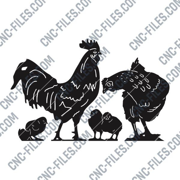 Chicken set vector design files - DXF SVG EPS AI CDR