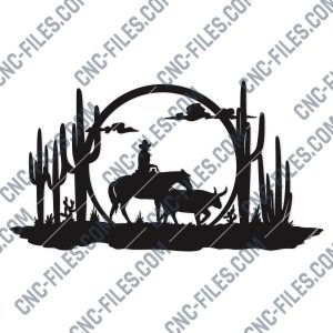 Cowboy Wall Art Vector Design file - DXF SVG EPS AI CDR
