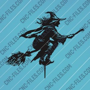 Halloween Witch Flying Vector Design file - DXF SVG EPS AI CDR