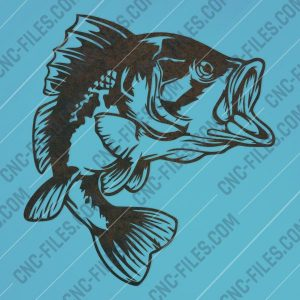 Bass Fish Facing Right – DXF SVG EPS AI CDR