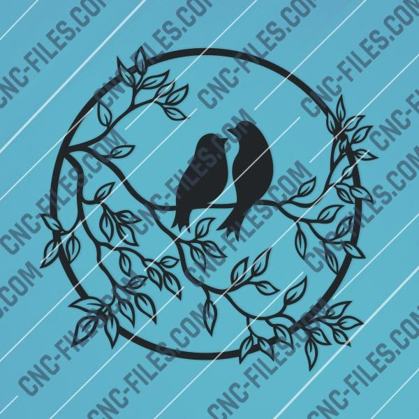 Birds on a branch - DXF SVG EPS AI CDR
