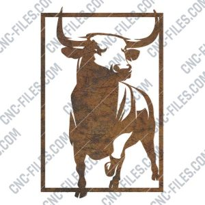 Bull panel design files - DXF SVG EPS AI CDR