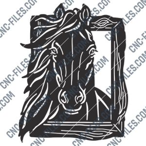 Horse face vector design files – DXF SVG EPS AI CDR