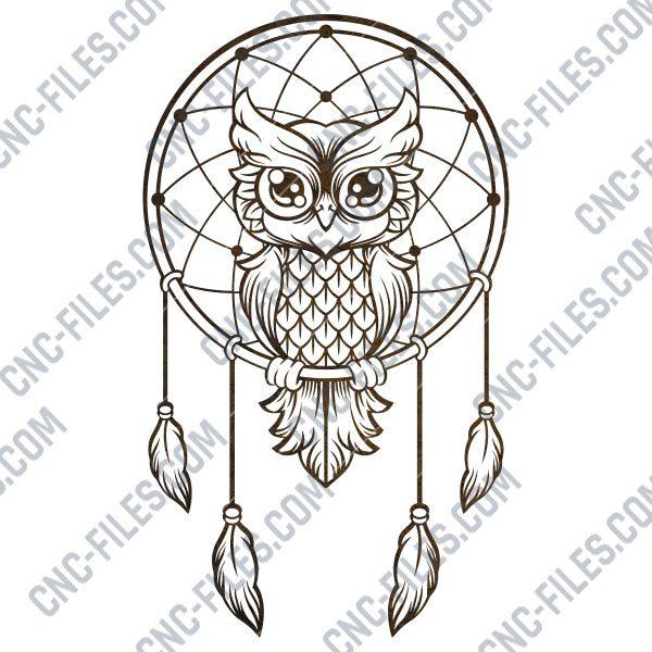 Owl dream catcher design files - DXF SVG EPS AI CDR