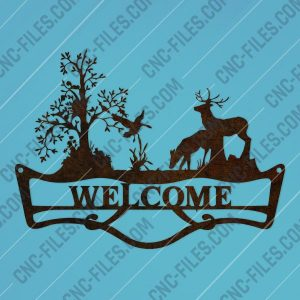 Welcome sign deer forest design files - DXF SVG EPS AI CDR