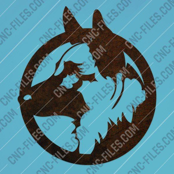 Dog german shepherd vector design files - DXF SVG EPS AI CDR