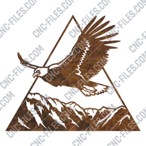 Eagle triangle mountain vector design files - DXF SVG EPS AI CDR