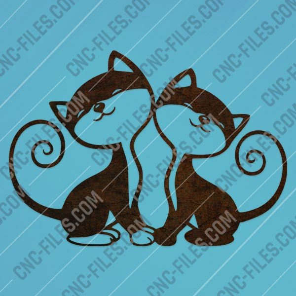 Two cats vector design files - DXF SVG EPS AI CDR