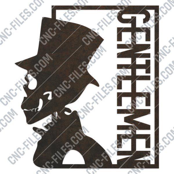 Gentlemen skull vector design files - DXF SVG EPS AI CDR