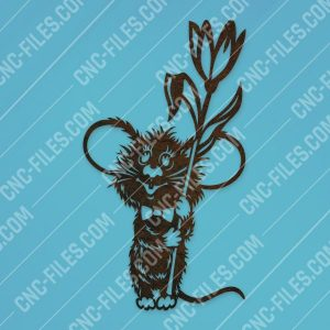 Mouse with flower vector design files - SVG DXF EPS AI CDR