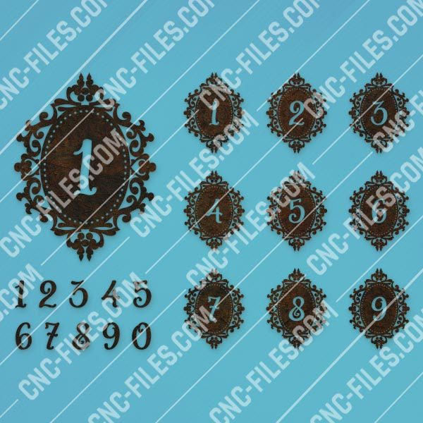 Laser cutting numbers template vector design files - SVG DXF EPS AI CDR