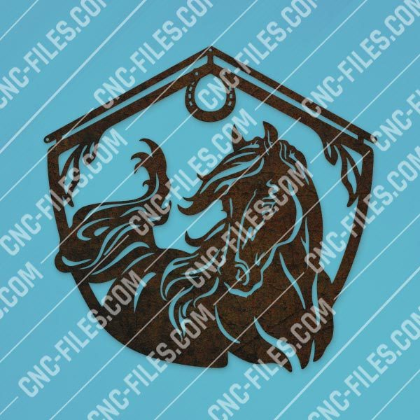 Horse and barn sign vector design files - DXF SVG EPS AI CDR